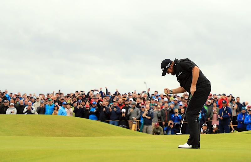 Shane Lowry reacts to his birdie putt on the 15th green during the final round of the 2019 Open Championship.