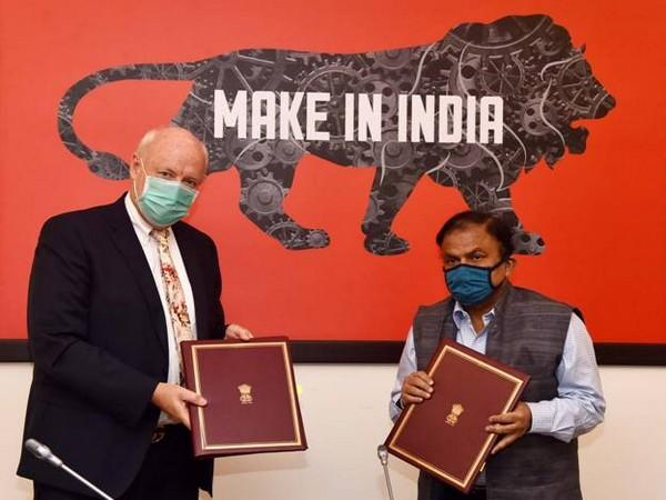 Indian and Denmark officials exchanging MoU in the field of Intellectual Property Cooperation on Saturday.