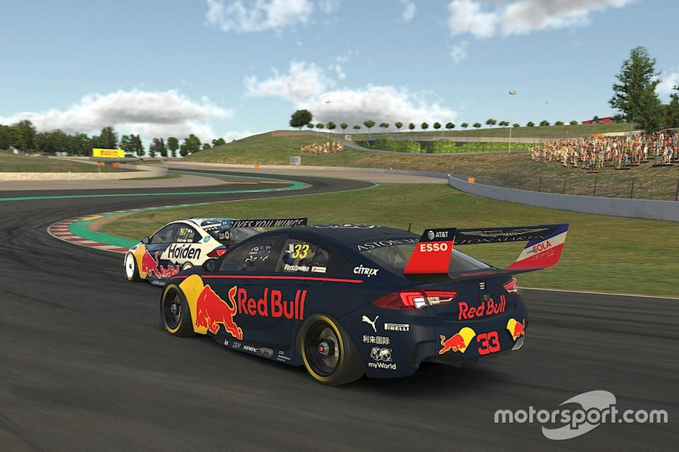 "Shane van Gisbergen and Max Verstappen in a virtual Supercar race<span class=""copyright"">Supercars</span>"