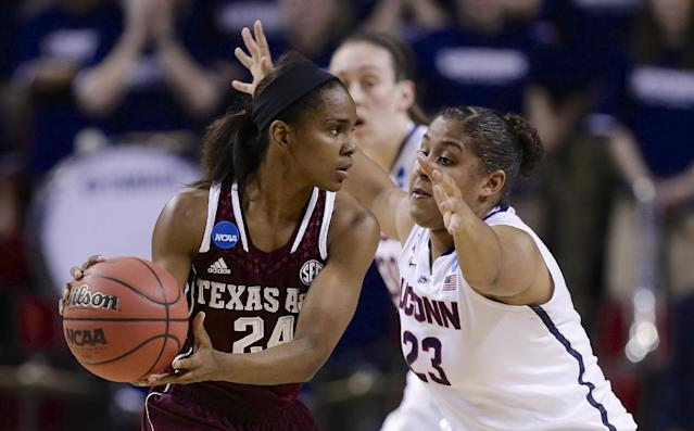 Texas A&M's Jordan Jones (24) is defended by Connecticut's Kaleena Mosqueda-Lewis (23) during the first half of a regional final game in the NCAA college basketball tournament in Lincoln, Neb., Monday, March 31, 2014. (AP Photo/Nati Harnik)