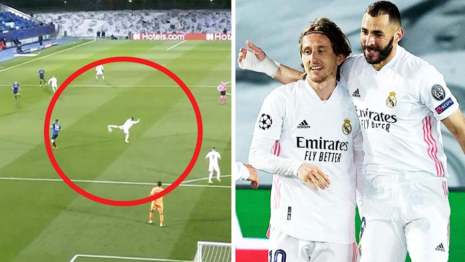 Luka Modric (pictured left) with a sublime touch and (pictured right) celebrating with Karim Benzema.