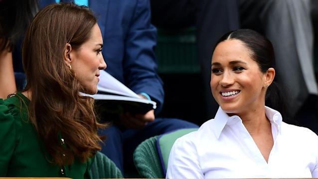 """Shaun Botterill/Getty ImagesThe royal rumor mill has pushed the theory that Kate Middleton and Meghan Markle are bitter foes since the American actress joined the royal family last summer. And the latest pics of the two from Wimbledon did little to throw water on the apparent firestorm between them. Other shots of Kate and Meghan and the kids at a polo match even had many outlets calling the long-lens shots choreographed and set up.But a new report published in the print edition of Hello! Magazine, quoted widely in the online British press, tells a far different story. The Hello! piece quotes a source close to both duchesses who says that the arrival of Meghan and Prince Harry's son Archie Harrison Mountbatten Windsor has brought the women closer together, even allowing it to """"evolve"""" into something of a warm sisterhood. """"Kate was a great source of support to Meghan in the days leading up to Archie's birth and, despite reports of a rift, they are family and have a really lovely friendship.""""New Royal Baby Name Revealed: Archie Harrison!The source added that Archie's arrival has meant that Kate and Meghan have much more in common and that the two """"talk and text regularly.""""""""Kate has wanted to make sure Meghan has felt welcome into the family,"""" the magazine reports, despite rumors to the contrary. The trouble between Kate and Meghan reportedly dates back to the bridesmaid dress fitting last summer when a remark Meghan made to """"an emotional"""" Kate who had just given birth to her third baby, Prince Louis. Since then, a number of other events, including Prince Harry and Meghan's move to Frogmore Cottage and the length of time it took for Prince William and Kate to be officially introduced to baby Archie, have only fed the rumor mill. And when Harry and Meghan left the Royal Foundation charity shared with William and Kate, things looked dire indeed. Royal watcher Carolyn Durand told Elle magazine that the whole royal rift saga has been overblown from the start. """"Catherine an"""