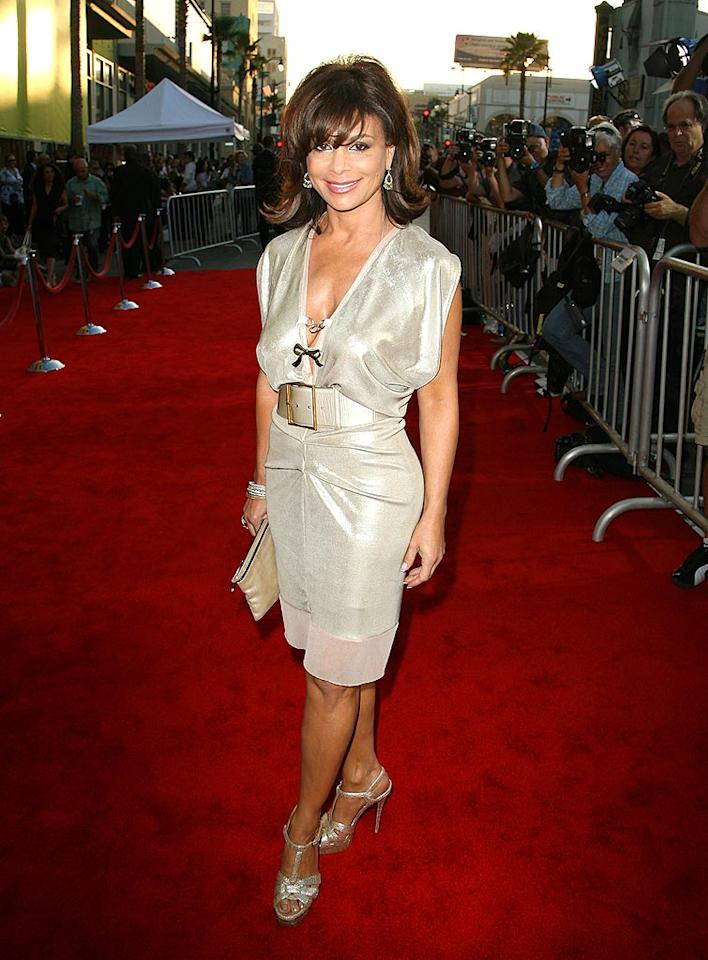 "Paula Abdul impresses in her sophisticated champagne-colored frock, sparkling heels, and sassy summer 'do. Jordan Strauss/<a href=""http://www.wireimage.com"" target=""new"">WireImage.com</a> - July 24, 2008"