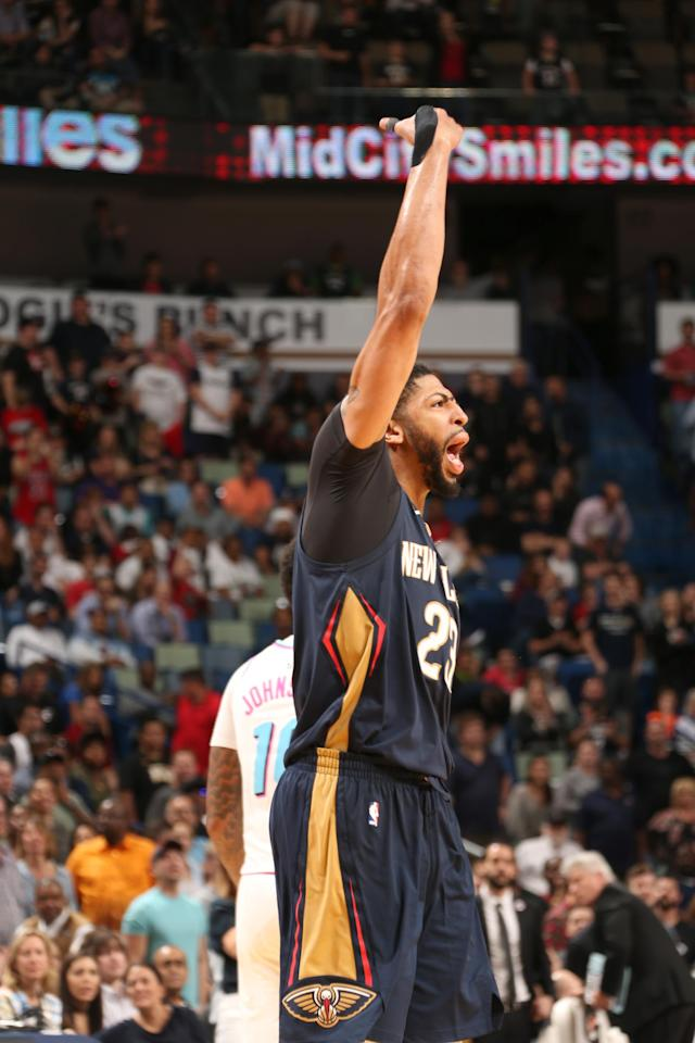 NEW ORLEANS, LA - FEBRUARY 23: Anthony Davis #23 of the New Orleans Pelicans reacts to a play during the game against the Miami Heat on February 23, 2018 at Smoothie King Center in New Orleans, Louisiana. (Photo by Layne Murdoch/NBAE via Getty Images)
