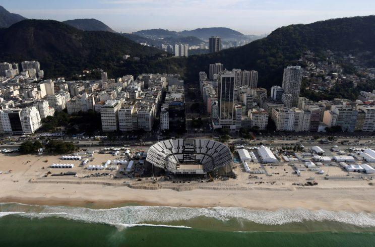 The Beach Volleyball Arena is in the heart of the famous Copacabana beach. This Olympic venue has one main court for competitions, plus courts for training and warm ups. (Reuters)