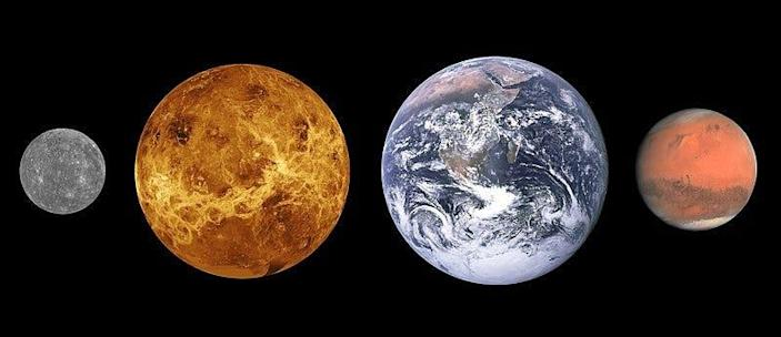 The comparative size of the first four planets from the Sun.  From left: Mercury, Venus, Earth and Mars.  The earth is 8,000 miles wide.