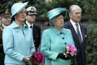 FILE- In this Thursday, Oct. 27, 2005, file photo, Norway's Queen Sonja, left, Britain's Queen Elizabeth II, centre, and Britain's Prince Philip, The Duke of Edinburgh, right, look on as Norway's King Harald V unveils a statue of the late Queen Maud of Norway at the Norwegian Ambassador's Residence in west London. Prince Philip's life spanned just under an entire century of European history. His genealogy was just as broad, with Britain's longest-serving consort linked by blood and marriage to most of the continent's royal houses. (AP Photo / Jane Mingay, File)