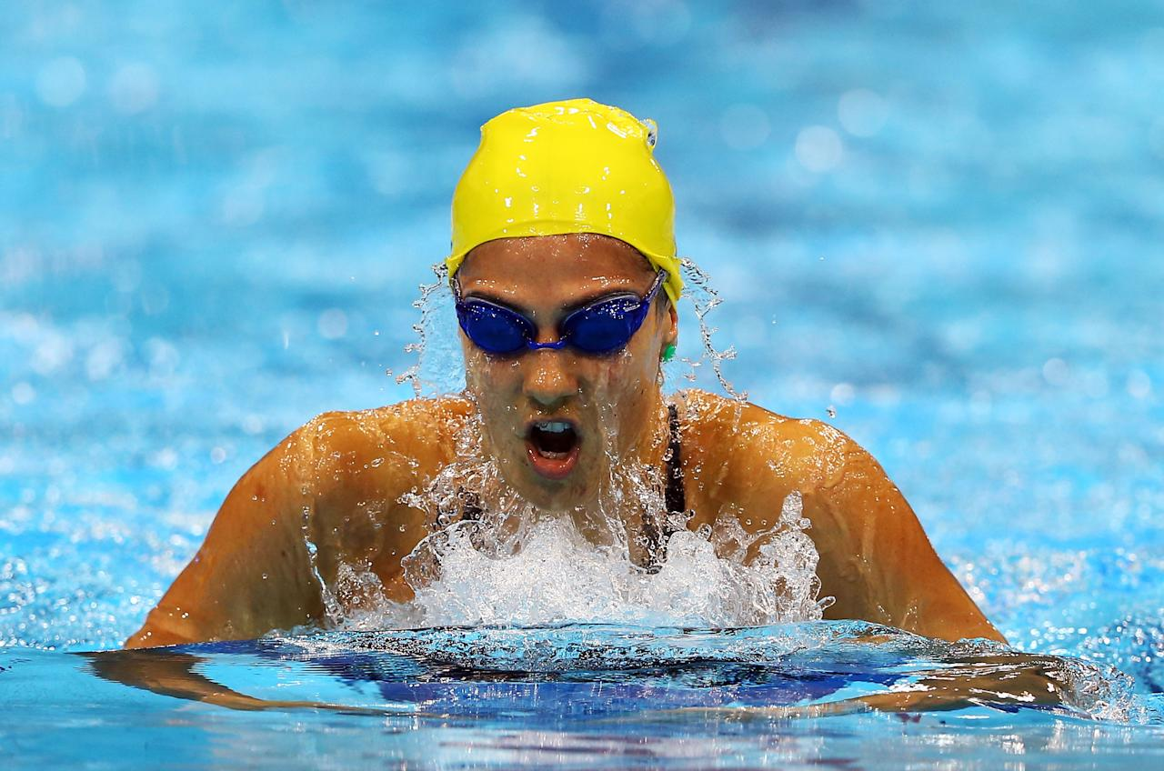 LONDON, ENGLAND - JULY 28:  Stephanie Rice of Australia swims breaststroke as she competes in heat four of the Women's 400m Individual Medley on Day One of the London 2012 Olympic Games at the Aquatics Centre on July 28, 2012 in London, England.  (Photo by Al Bello/Getty Images)