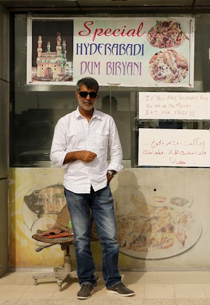 Shadab Khan, one of the Indian owners, stands outside the Zaiqa restaurant on March 31, 2015, in southern suburbs of the Qatari capital Doha (AFP Photo/Karim Jaafar)