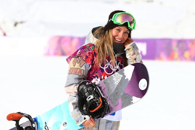 SOCHI, RUSSIA - FEBRUARY 09: Jamie Anderson of the United States celebrates winning gold in the Women's Snowboard Slopestyle Finals during day two of the Sochi 2014 Winter Olympics at Rosa Khutor Extreme Park on February 9, 2014 in Sochi, Russia. (Photo by Cameron Spencer/Getty Images)