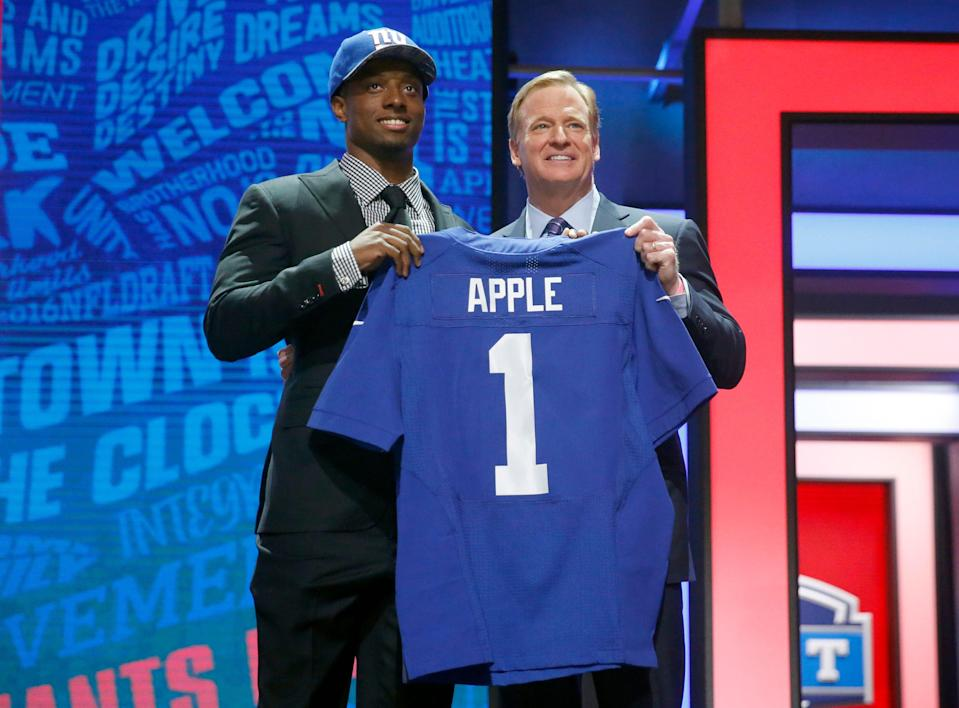 Eli Apple was the 10th pick of the 2016 draft by the Giants, but has been traded and won't have his fifth-year option exercised by the Saints. (AP)