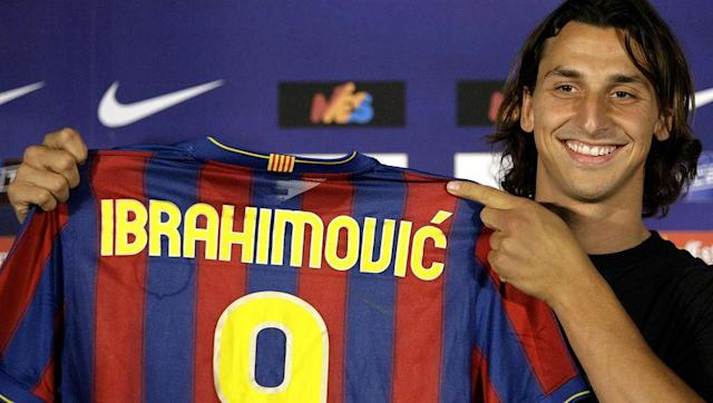 <p>Zlatan Ibrahimovic signed for Barcelona in 2009 from Inter, in a €69m deal that saw Samuel Eto'o go the other way.</p> <br><p>Ibrahimovic would stay in Spain for just one year, scoring sixteen La Liga goals as Barcelona edged out Real Madrid for the title.</p> <br><p>Having played for Juventus and Inter earlier in his career, the Swede was obviously keen to tick off AC Milan too and joined them ahead of the 2010/11 season.</p>