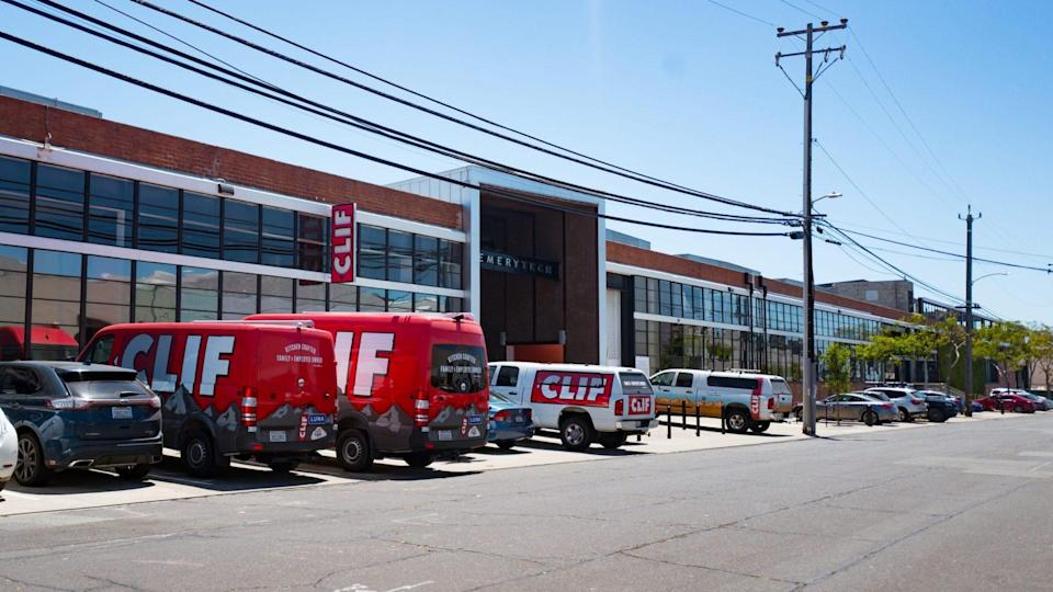 Emeryville, United States - June 12, 2018:  Facade of headquarters of health food and meal bar manufacturer Clif Bar in downtown Emeryville, California, June 12, 2018.