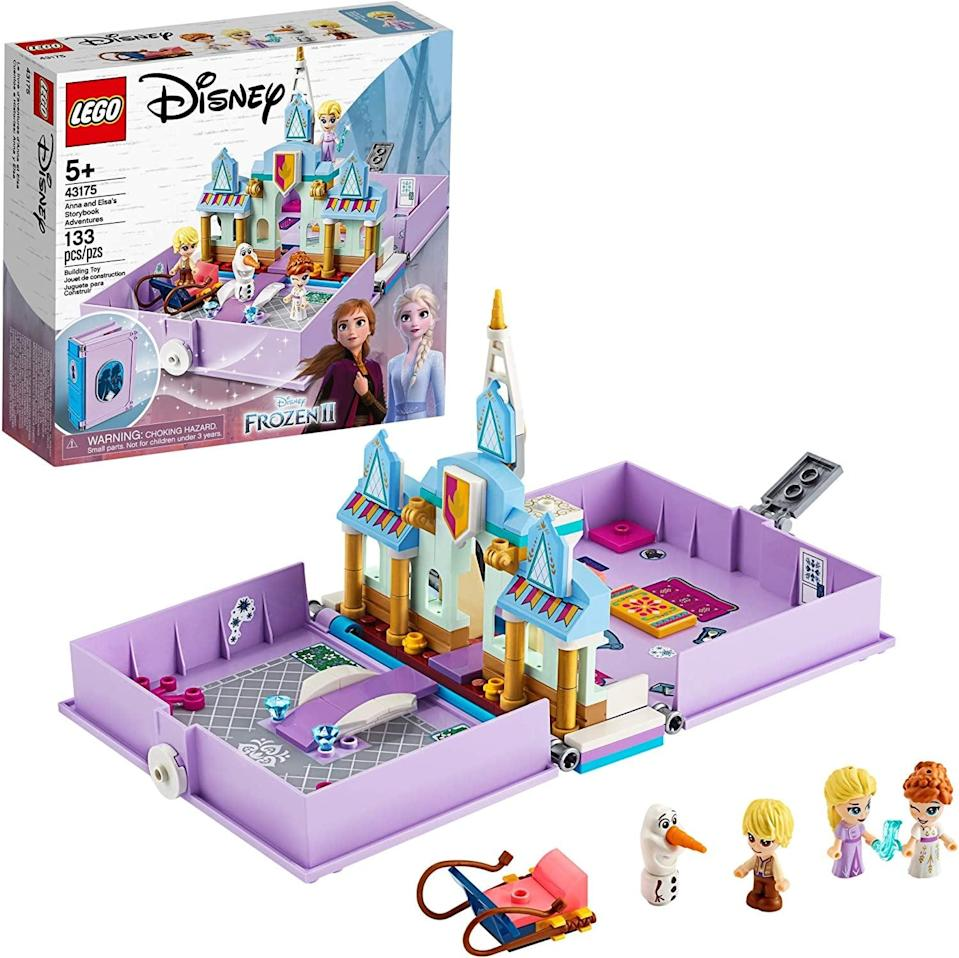 <p><span>Lego Disney Anna and Elsa's Storybook Adventures</span> ($20) has 133 pieces and is best suited for kids ages 5 and up.</p>