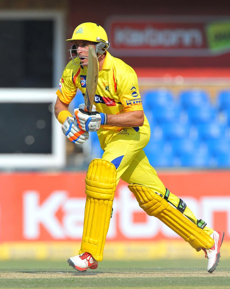 JOHANNESBURG, SOUTH AFRICA - OCTOBER 14:  Mike Hussey of CSK sets off for a run during the Champions League Twenty20 match between Chennai Super Kings and Sydney Sixers at Bidvest Wanderers Stadium on October 14, 2012 in Johannesburg, South Africa. (Photo by Duif du Toit / Gallo Images/Getty Images)