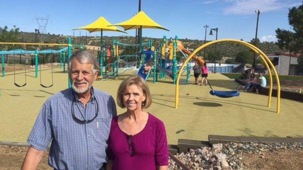 Carl and Marsha Mueller seen here at the Prescott, Arizona, playground named 'Kayla's Hands' in honor of their daughter, Kayla Mueller. (Mueller Family)