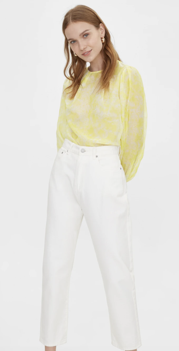 PHOTO: Pomelo. Sheer Marble Print Top, Yellow