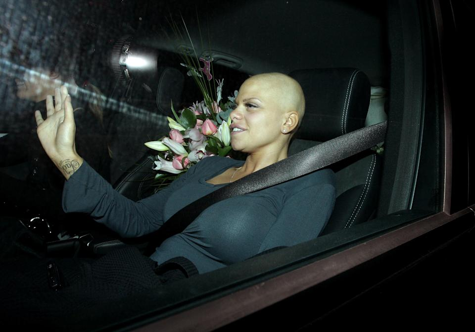 Jade Goody arrives at her home in Upshire, Essex, following her wedding to Jack Tweed yesterday.