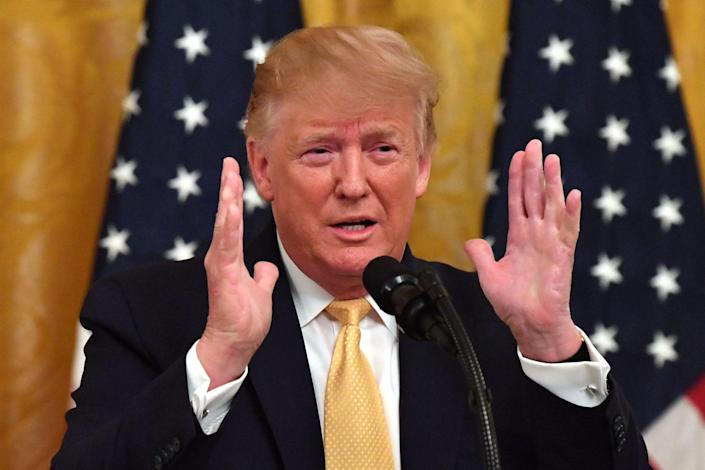 US President Donald Trump gestures as he speaks at the Presidential Social Media Summit at the White House in Washington, DC, on July 11, 2019: NICHOLAS KAMM/AFP via Getty Images
