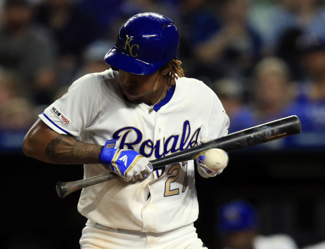 Kansas City Royals' Adalberto Mondesi dodges an inside pitch during the sixth inning of the team's baseball game against the Chicago White Sox at Kauffman Stadium in Kansas City, Mo., Friday, June 7, 2019. (AP Photo/Orlin Wagner)