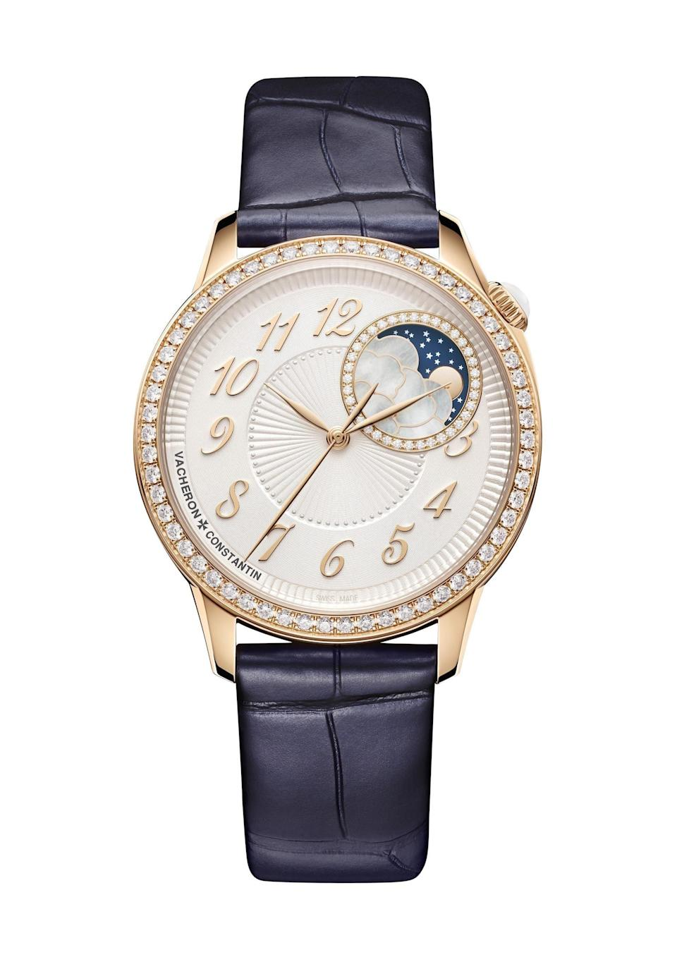 """<p><strong>$36200.00</strong></p><p><a href=""""https://www.vacheron-constantin.com/us/en/collections/egerie/8005f-000r-b498.html"""" rel=""""nofollow noopener"""" target=""""_blank"""" data-ylk=""""slk:Shop Now"""" class=""""link rapid-noclick-resp"""">Shop Now</a></p><p>Pre-dating the actual United States of America, was foinded in 1775 Vacheron Constantin, meaning the watch brand has over 265 years of expertise watch making. Its hallmarks are its uniquely high level of hand finishing and technical and aesthetic signatures. Its main collections include Patrimony, Traditionnelle, Métiers d'Art, Overseas, Fiftysix, Egerie, and Historiques, as well as a bespoke line known as it """"Les Cabinotiers"""" department. The self-winding Egerie style, pictured, features details like a fan-textured dial, off-center crown, date window or moonphase, Breguet numerals, and diamonds.</p>"""