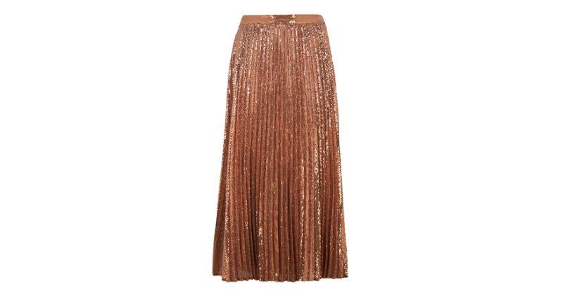 Sequin Pleated Midi Skirt