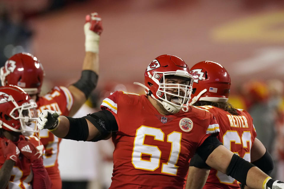 Kansas City Chiefs guard Stefen Wisniewski celebrates at the end of the AFC championship NFL football game against the Buffalo Bills, Sunday, Jan. 24, 2021, in Kansas City, Mo. The Chiefs won 38-24. (AP Photo/Charlie Riedel)