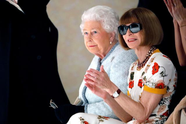 Did Anna Wintour breach royal protocol by wearing sunglasses to meet the queen? (Photo: Getty Images)