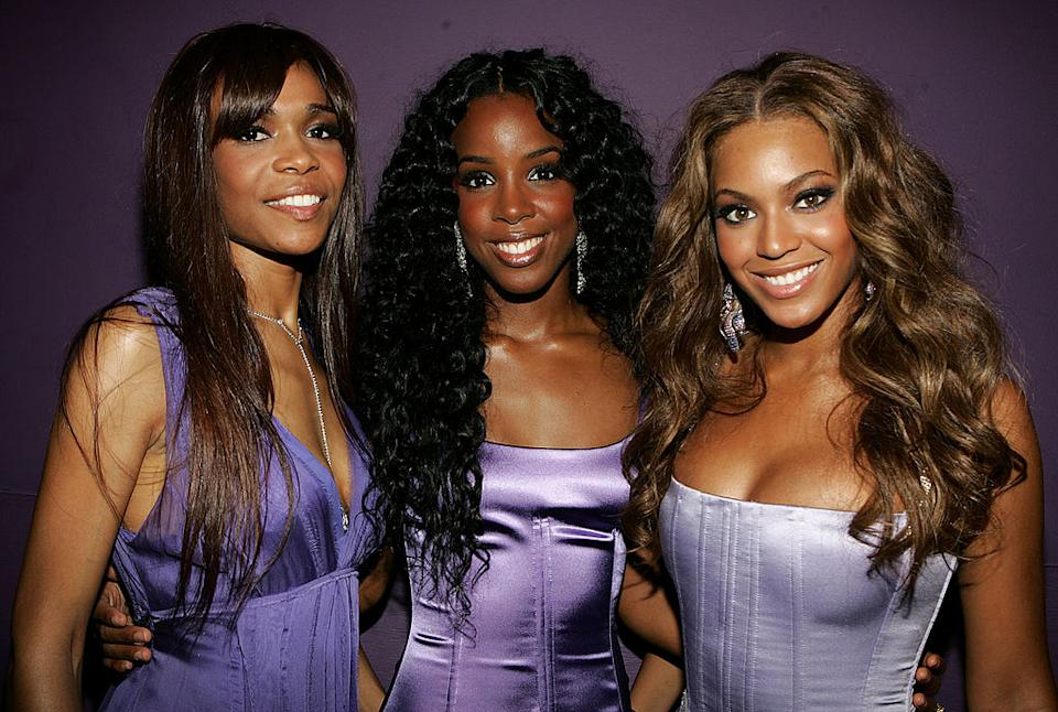 Michelle Williams (left) with Kelly Rowland (centre) and Beyoncé Knowles (right) at the 2005 BET Awards. (Photo by Frank Micelotta/Getty Images)