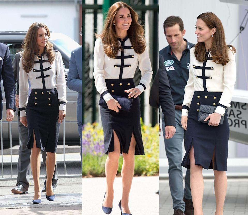 <p>Middleton first appeared in these nautical-inspired Alexander McQueen separates in August 2011, bringing the look back in June 2014 and May 2016.</p>