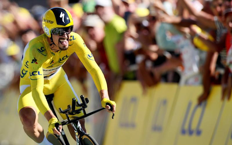 Julian Alaphilippe sprints to the finish line - REUTERS