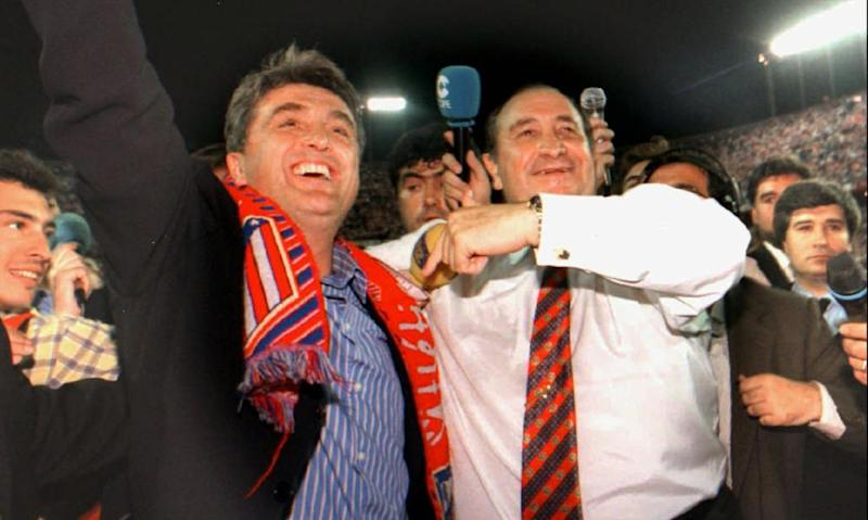 Radomir Antic (left) and the club president Jesús Gill celebrate Atlético's league title win in 1996.