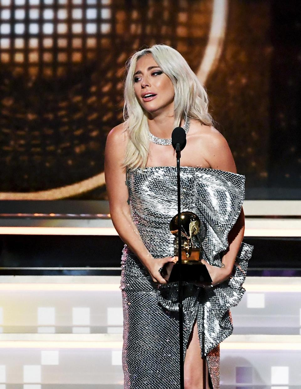 """Lady Gaga accepts the Best Pop Duo/Group Performance award for """"Shallow"""" (with Bradley Cooper) at the 61st Annual Grammy Awards Feb. 10, 2019, in Los Angeles. (Photo: Kevin Winter/Getty Images for the Recording Academy)"""
