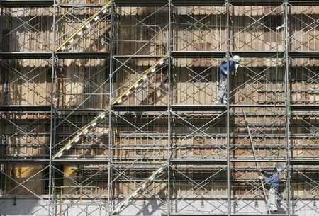 Construction workers erect scaffoldings for Electric Power Development Co.(J-Power)'s No.2 unit of coal-fired thermal plant currently under construction in Yokohama, south of Tokyo in this August 7, 2007 file photo. REUTERS/Yuriko Nakao/Files