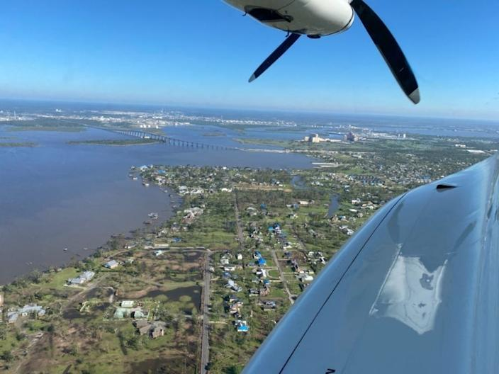 The view from a Coast Guard airplane during an overflight near Lake Charles, Louisiana, on Saturday. Coast Guard aircrews conducted flights following Hurricane Delta to assess damages and identify hazards.
