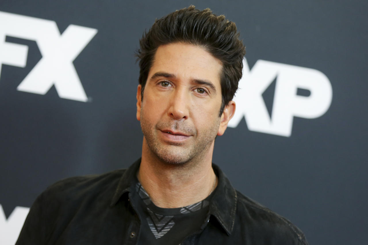 """FILE - In this Jan. 16, 2016 file photo, David Schwimmer arrives at the 2016 FX Winter TCA in Pasadena, Calif. NBC announced that Schwimmer will have a recurring role on """"Will & Grace"""" as Grace's new love interest. The program returns for a second season on Oct. 4. (Photo by Rich Fury/Invision/AP, File)"""