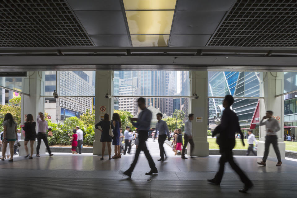 The entrance to Raffles Place MRT station in Singapore's financial district.