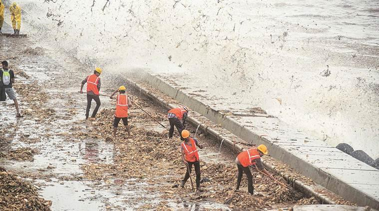 mumbai rains, mumbai rains news, bmc trash booms removal, marine drive pollution, mumbai beach garbage, mumbai news