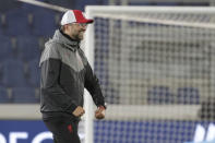 Liverpool's manager Jurgen Klopp celebrates after the end of the Champions League, group D soccer match between Atalanta and Liverpool, at the Gewiss Stadium in Bergamo, Italy, Tuesday, Nov. 3, 2020. Liverpool won the game 5-0. (AP Photo/Luca Bruno)