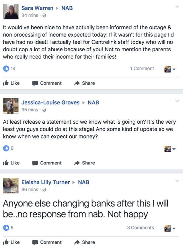 Customers have voiced their frustration on the bank's Facebook page. Source: Facebook