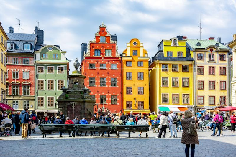 Colourful houses on Stortorget Square in Stockholm's Old Town. (Photo: Vladislav Zolotov via Getty Images)