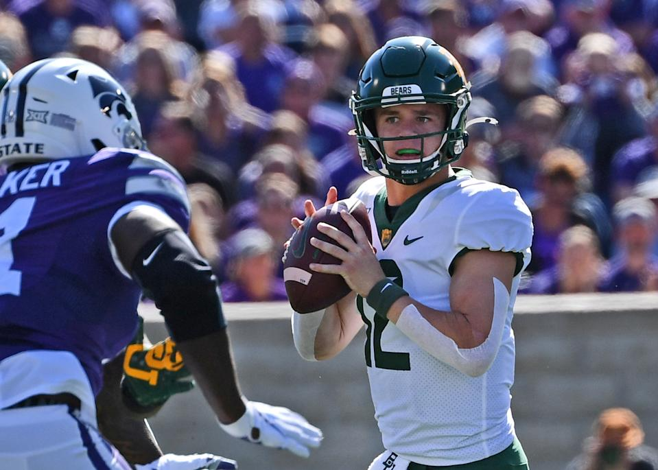 Baylor's Charlie Brewer #12 looks downfield against the Kansas State Wildcats on Oct. 5. (Getty)