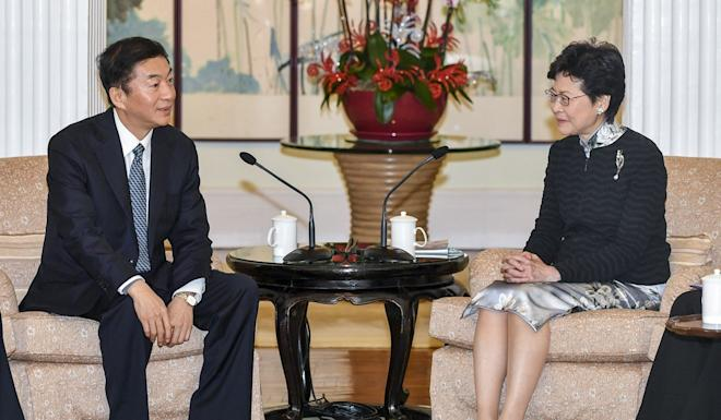 "Luo Huining, head of the Chinese Hong Kong liaison office, with Chief Executive Carrie Lam on December 3. Pompeo derided Luo's expressed hope that China would return to the ""right track"". Photo: Handout"