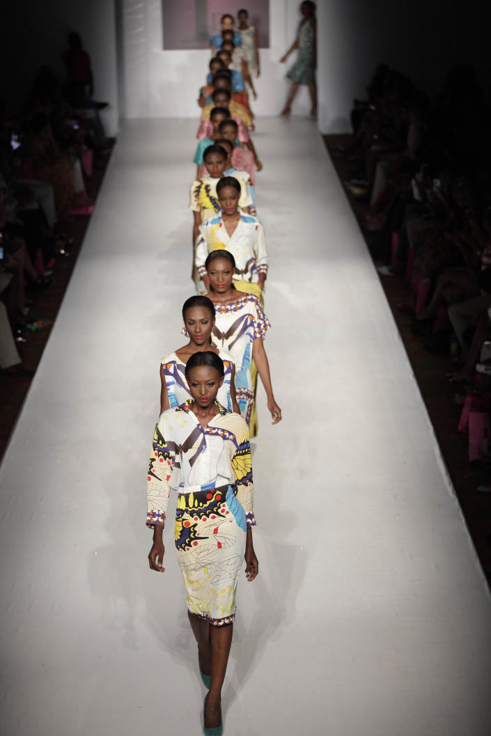 Models display creations designed by Lanre Da Silver Ajayi, during the MTN Fashion and Design Week in Lagos, Nigeria, Saturday, Oct. 27, 2012. (AP Photo/Sunday Alamba)
