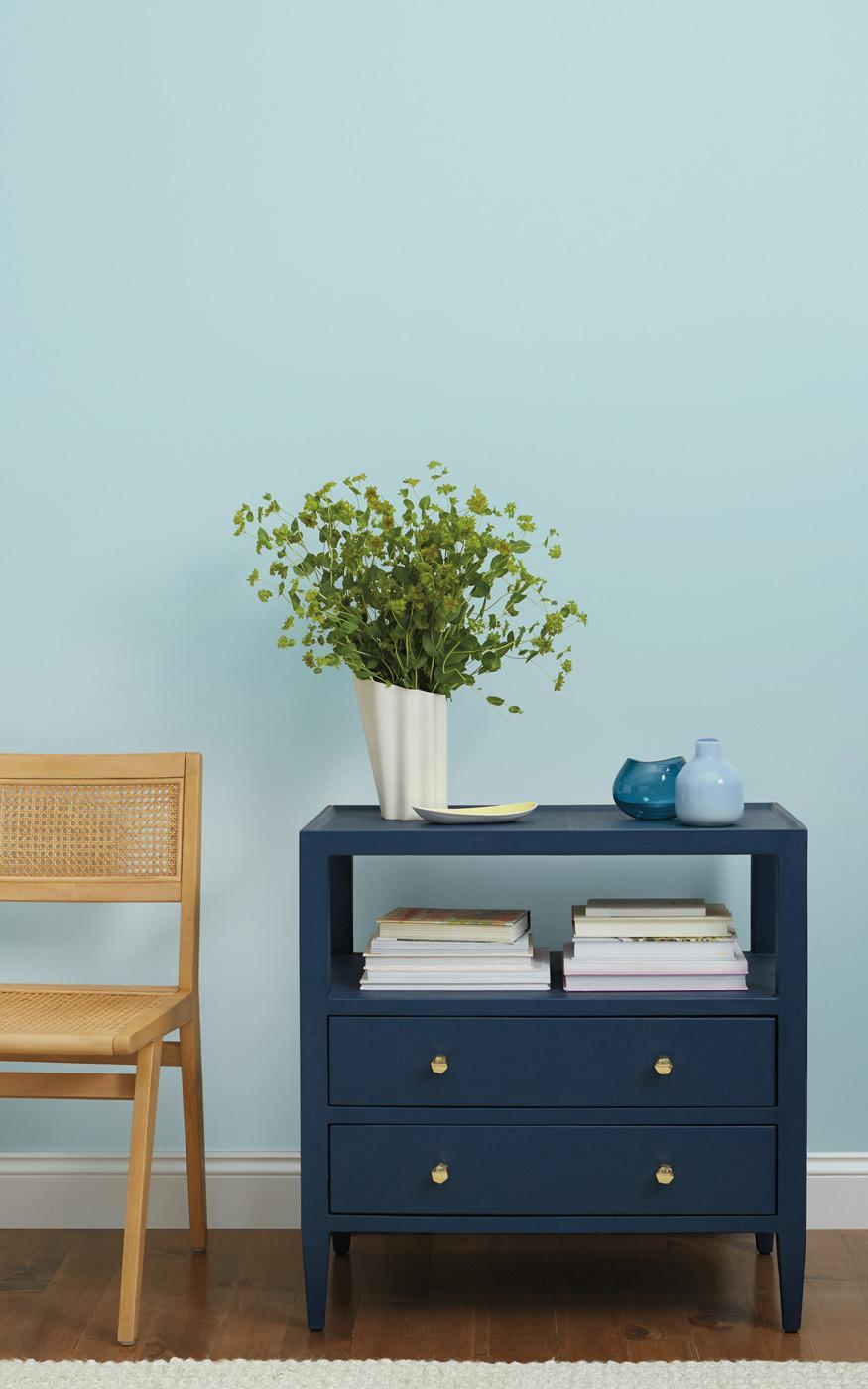 """<p>If you're looking for an eye-catching wall color that will also help you stay cool and calm throughout the day, look no further than a fresh shade of blue. """"If your job requires long stretches of focused time, choose a clean, fresh blue hue, like <a href=""""https://www.clare.com/paint/wall/nairobi-blue"""" rel=""""nofollow noopener"""" target=""""_blank"""" data-ylk=""""slk:Nairobi Blue"""" class=""""link rapid-noclick-resp"""">Nairobi Blue</a>,"""" Gibbons says. """"Blue is universally known as a productive color that can help you stay calm, thus helping you to remain focused on the task at hand.""""</p>"""