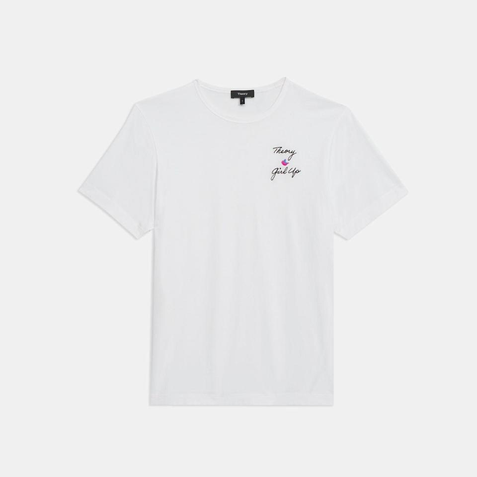 """<p>Theory believes that the girls of today are the women of tomorrow, which is why a percentage of the proceeds from this T-shirt will be going to Girl Up, a leadership initiative founded by the United Nations Foundation to provide girls with the tools and resources to take action and achieve equal rights across the globe.</p><p><a class=""""link rapid-noclick-resp"""" href=""""https://go.redirectingat.com?id=127X1599956&url=https%3A%2F%2Fwww.theory.com%2Fprecise-tee-e%2FK1124526.html&sref=https%3A%2F%2Fwww.townandcountrymag.com%2Fuk%2Fstyle%2Ffashion%2Fg35444586%2F15-brands-to-support-this-international-womens-day%2F"""" rel=""""nofollow noopener"""" target=""""_blank"""" data-ylk=""""slk:SHOP HERE"""">SHOP HERE</a></p>"""