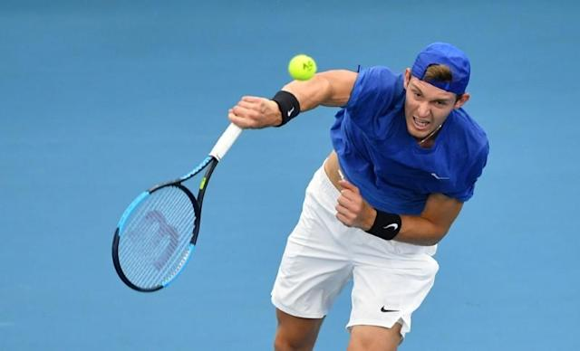 Nicolas Jarry of Chile in action against Lloyd Harris of South Africa during day 4 of the ATP Cup tennis tournament at Pat Rafter Arena in Brisbane
