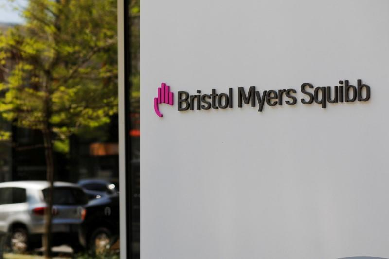 FILE PHOTO: A sign stands outside a Bristol Myers Squibb facility in Cambridge