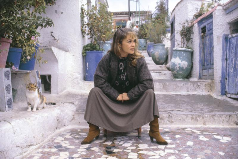 Pepa Flores, Marisol, actress Seated on a chair in the neighborhood of the Sacromonte (Granada) (Photo by Aurora Fierro/Cover/Getty Images)