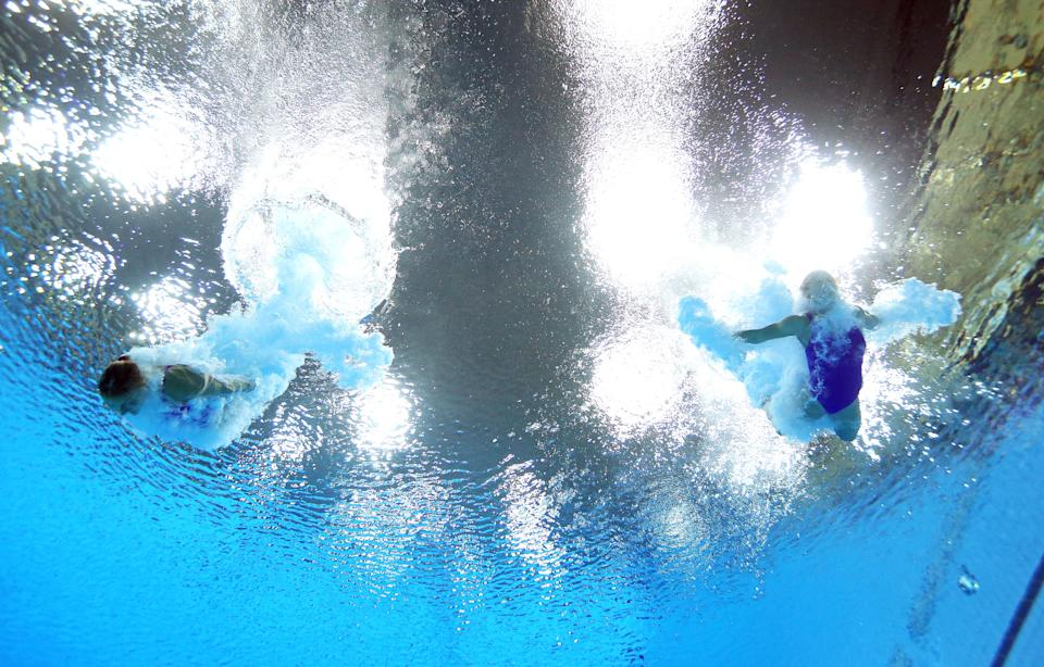 LONDON, ENGLAND - JULY 29: Anna Pysmenska and Olena Fedorova of the Ukraine compete during the Women's Synchronised 3m Springboard final on Day 2 of the London 2012 Olympic Games at the Aquatics Centre at Aquatics Centre on July 29, 2012 in London, England. (Photo by Al Bello/Getty Images)